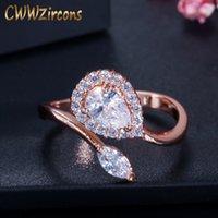 Кластерные кольца Cwwzircons Регулируемый размер Высококачественные розовые золотые цветные груши нарезать кубический цирконий Открыть для женщин Мода Ювелирные изделия R089
