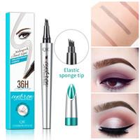Make-up-Flüssigkeit Augenbrauenstift 3 Farben Augenbraue-Feder feine Skizze Wasserdicht 36H Tätowierung Durable 4 Kopf-Augenbraue-Feder-freies Verschiffen