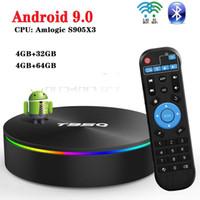 T95Q Android 9.0 TV BOX 4 Go + 32 Go / 64 Go Amlogic S905X3 Quad Core Smart TV Box double 2.4G5GHz Wifi BT boîtier décodeur