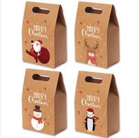 Noel Hediyesi Çanta Noel Vintage Kraft Kağıt Elmalar Şeker Vaka Parti Hediye El Çantası Sarılı Paket Dekorasyon Parti Favor Tedarik LJJP472