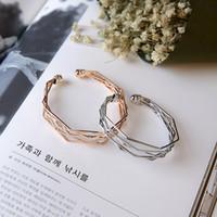 Moda Popular Ornamento Metal Simples Geométrico Multi-Nível Multi-Nível Aberto Pulseira Aberto Acessórios para mulheres