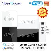 US UE WiFi RF433 Smart Touch Rideau rouleau Stores moteur commutateur Tuya vie intelligente Remote App Control Works avec Alexa Accueil Google