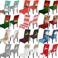 Weihnachten Stretch-Stuhl-Abdeckung Merry Xmas Elastic Esszimmer Sitz Stuhlhussen Weihnachten Spandex-Stuhl-Dekoration
