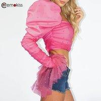 여성용 블라우스 셔츠 CEREMOKISS 섹시한 여성 자르기 탑 진주 퍼프 슬리브 한 어깨 루치 메쉬 핑크 짧은 연예인 파티 탑 블루 마스