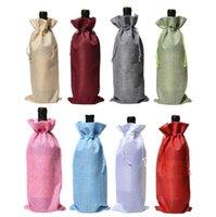 حقائب حقيبة عشاء حقائب النبيذ الجوت زجاجة النبيذ الحقائب متعدد الألوان الشمبانيا زجاجة الرباط حقيبة الزفاف الجدول ديكور الخيش هدية حزمة