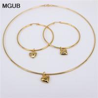 Diamètre boucles d'oreilles de 10 mm 70mm ensemble collier 3 sélection du style perles d'imitation lisse et belle 316L perles en acier inoxydable