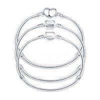 Argent chaud Amour Serpent chaîne Fit Charm Bracelet Charm Bijoux cadeau pour homme femme 16-21cm
