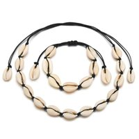 Shell collana per le donne / Catena Ragazze alla moda della Boemia della spiaggia del mare Shell Pendant Choker collana e del braccialetto delle donne cny1507 caldo Jewelry