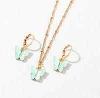 Novos colares de pingente de borboleta e brincos para mulheres meninas moda rosa ouro colar elegante gargantilha moda doce jóias presente
