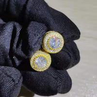 Moda Lüks Yuvarlak Zirkon Küpe Erkekler Ve Kadınlar Için Altın Gümüş CZ Elmas Düğün Saplama Küpe Güzel Takı Kristal Kulak Yüzük