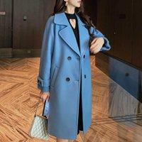 Frauen-Art und Weise beiläufigen zweireihiger Armband Langer Wollmantel Insta-berühmter eleganter blau Beige Mantel