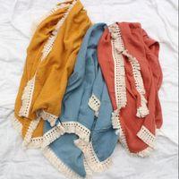 Baby Solid Muslin Swadding borla toallas con flecos Toallas de doble capa Mantas de baño Toddler Swaddles Wraps Muslins infantil Robes LSK1332