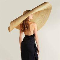 ماركات عالمية- أزياء سيدة قبعة من القش المرأة الصيف اقي من الشمس قبعة الشمس مرن الجردل كاب المتضخم أنثى قبعة سترو شاطئ المضادة للأشعة فوق البنفسجية حماية