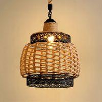 Американская пеньковая веревка подвеска огни ретро ресторан люстры хрусталь светильник железо искусства droplight кафе подвесные светильники