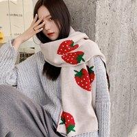 Шали клубника вязание шарф женская зимняя шерсть студент милая девушка модный универсальный прекрасный теплый удобный уютный полотенце