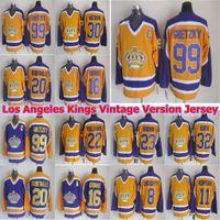 Los Angeles Reis Versão Vintage Jersey 30 Rogie Vachon 22 Tiger Williams 32 Jonathan Quick 8 Drew Doughty Retrato Mens CCM Hóquei Jersey