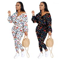 Piece Pants Sets Clothing Ladies Butterfly Pattern Sets Fashion Trend V Neck Long Sleeve Suits Designer Female Sexy Casual Short Tops Two