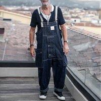 الرجال السراويل وزرة البضائع الدينيم حزام خمر بذلة فضفاضة الهيب هوب جيوب عارضة الأمريكية سراويل طويلة الذكور العمل موحدة