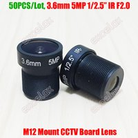 "Lens Wholesale 50PCS Lot 5MP 1 2.5"" 3.6mm Fixed IR MTV M12 Mount CCTV Board For 1080P 2MP 3MP 4MP 5 Megapixel Analog IP Camera"