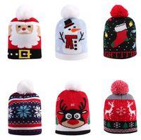 Рождественские девочки мальчик вязание шляпы малыша теплые крючком шляпы дизайнер Санта-Клаус Снеговик вязаный череп шапки шапка детские детские шапки D91004