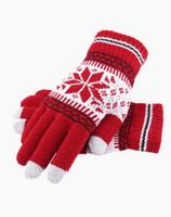 Cinq doigts Gants Fashion Arrivée de la mode chaude épaisse en laine d'hiver tricoté Femmes Screen Sens Hommes Glove Snowflake Mitaines