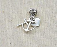 100pcs cuore croce fascino grande foro perline pendente europeo fit pandora braccialetti collana gioielli fai da te making