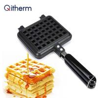 Qitherm antiadherente Waffles molde del fabricante de burbuja portátil Hierro Máquina Domésticos de Cocina de gas Pan de huevo Pastel Horno desayuno Máquina
