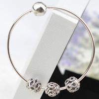 100% 925 d'argento intrecciate Bead Charm Openwork Lacework Perle Libertà PANDORA Essenza del braccialetto del Gioielli fai da te 1