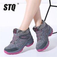 STQ 2020 Зимние Снежные Женщины Теплый толчок Лодыжки Женский Высокий Клиновый Водонепроницаемый Резиновый Пешинг Ботинки Обувь 6139