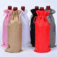 15 * 35CM زينة عيد الميلاد الخيش الشمبانيا النبيذ زجاجة حقائب الأغطية مهرجان حزب الحقيبة هدية التعبئة حقيبة الجدول تزيين 100pcs التي RRA3592