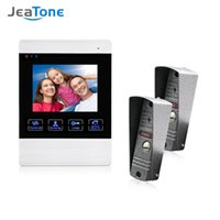 Jeatone 4-Zoll-TFT Wired Smart Video-Türsprechanlage Sprechanlage mit 1 Nachtsicht-Monitor + 2x1200TVL Regenfest Klingel-Kamera