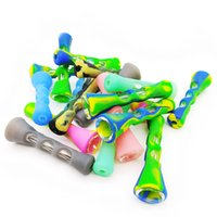 Mixed Color Silicone Smoking Pipe Glass Bongs 3.4 inches Cigarette Hand Pipes Portable Mini Tobacco Pipe Cigarettes Holder