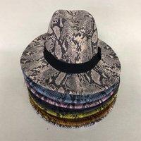 LVTZJ 2020 Hot feltro de lã Chapéus Floppy Grande Brim Fedora Para Homens Mulheres Pele de serpente listrada Banda Jazz Caps Senhora do inverno chapéus Panamá