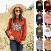 Frauen T-Shirts Pullover Langarm Tops Halloween Kleidung Hoodies Designer Patchwork Pullover Leopard Kürbis Trendy Sweatshirts D9712