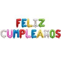 En Stock 16 pulgadas española Feliz Cumpleaños Feliz Cumpleaños Globo Conjunto Conjunto mayorista