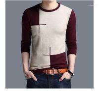 Мужских Свитеров Повседневной одежды Мужчину обшитых панелей Дизайнер Crew Neck Свитер Мода Пуловер цвет контраст с длинным рукав