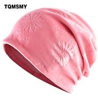 Berretti cappelli di TQMSMY delle donne per la primavera e l'autunno delle donne velluto Collare sciarpa femminile Skullies progettazione beanie fiore ricopre TMDH18