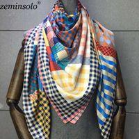 Sciarpe 100% Twill Sciarpa di seta Donna Stampa Scialle Echarpe Fourlard Femme Square per Hijab Bandanas Bufandas Mujer 130 * 130 cm