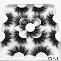 Ручной 7Pairs 25мм 3D Поддельный норковые Ресницы Драматический Длинные Wispies Lash Extension Soft Пушистый Natural Volume Красота Макияж глаз