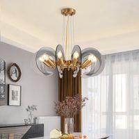 Modern cam Avize Işık Salon Yuvarlak Asma Lamba Ev İç Aydınlatma Lüks altın Cristal Luster