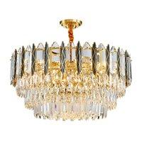 Luxury Gold Кри освещение для столовой круглый прямоугольник висячие светильники Современные Крытый Хрустальные люстры