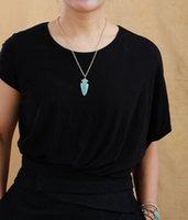 رأس السهم قلادة امازونيتي لهجة الذهب سلسلة سحر قلادة فريدة من نوعها حجر مجوهرات للنساء فام أوم بيجو