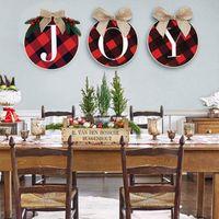 3pcs Weihnachtsdekoration JOY-Zeichen aus Holz Kranz Weihnachtsdekoration für Haus DIY Weihnachten Treppen Wand-Tür hängende Ornamente Frohes Neues Jahr