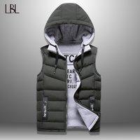 남자 조끼 남성 겨울 조끼 남자 캐주얼 와이익 코트 민소매 재킷 양면 모자에 착용 한 착용 할 수있는 톱 4XL