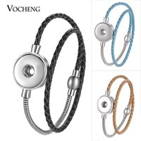 Bracciali di fascino 10pcs / lot Bracciale in vera pelle Vocheng Ginger Snap Jewelry in acciaio inox Magnete Chiusura per il pulsante 18mm Charms NN-585 * 10