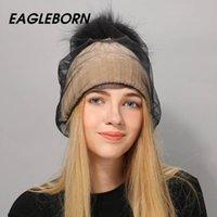 Bonnet / Crânes Caps Casquettes Eagleborn Tricoté Chapeau de fourrure Chapeaux de fourrure pour bonnet de bonnet fille Pom pom et laine épaisse