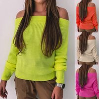 Suéteres para mujer 2021 Otoño e invierno Ropa de invierno Color fluorescente Cuello de una sola palabra Sweater de punto casual Moda All-Patch