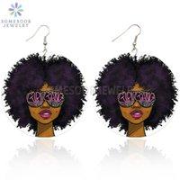 DANNGLE LANDELIER Somesoor Black Girl Gang Afro Cheveux bouclés Boucles d'oreilles Boucles d'oreilles Doubles côtés Imprimer Bijoux de bois de Dope Africain pour femmes GIF
