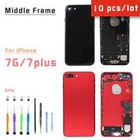 10pcs / lot Back Cover per iPhone 7 7plus posteriore Housing Medio Telaio con batteria della parte posteriore porta in vetro, oro Nero Bianco Rosso