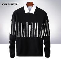 Brand Sweater Men Streetwear Fashion Striped Pullover Men Knitwear Shirt Pull Homme Autumn Winter 100% Cotton Sweaters 2020 New